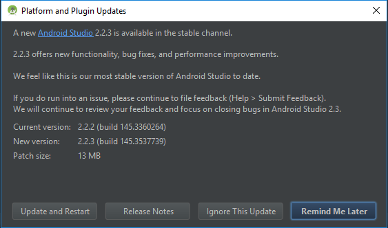 Update Android Studio ke Versi 2.2.3 Stable Channel