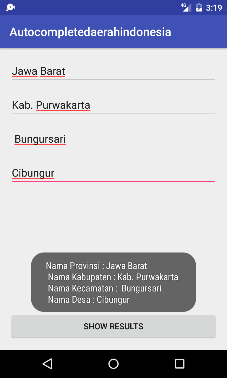 Library AutoCompleteTextview Daerah Indonesia Android Studio