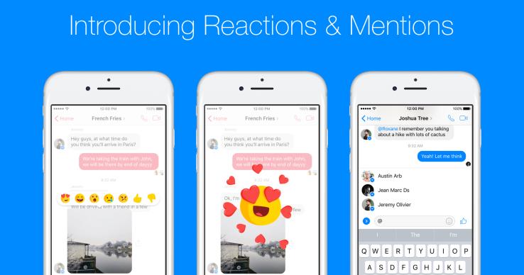Fitur Baru Facebook Messenger Reactions dan Mentions