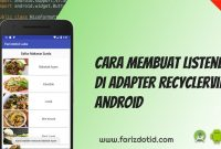 Cara Membuat Listener di Adapter RecyclerView Android