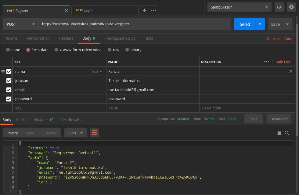 Cara Membuat API Login Register Dengan SLIM Framework - 4